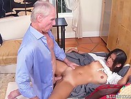 Old men wished to taste some exotic pussy and shared young Latina's one with pleasure 6