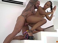Tattooed fucker can't stop penetrating tight vagina of black sweetie in high heels 4