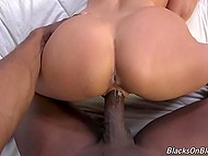 Black fuckstick entered blonde Aaliyah Love's pussy and it made her moan and grab sheets 6