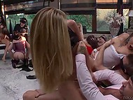 Handsome men were blindfolded and served by the first-class sluts in the group sex scene 5