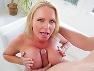 Inviting cutie gave an awesome blowjob to her stepson cause she worried about his sex life