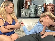 Lascivious lady tried to find out how good is blonde stepdaughter's fellow and took part in the threesome 3