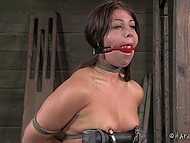 Man pulled nipples and surprised tied up colleen with a lot of thrills in the basement 11
