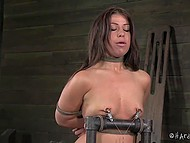 Man pulled nipples and surprised tied up colleen with a lot of thrills in the basement 7