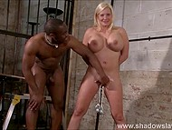 Pussy lips of mature woman with immense globes were enjoying metal weights and black guy's fingers strengthened her feelings 8