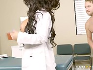 Big-boobied nurse with curly hair makes patient feel better having physical contact instead of usual treatment 3