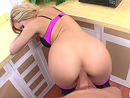 Golden-haired beauty in sexy lingerie takes a ride on man's rod in the POV video 4
