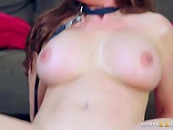 Tootsie with huge tits visited her friend at his mansion and gave alluring booty to him 9