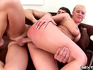Pig-tailed blonde with round ass loves to ride that young juicy cock and gets a load from him 9