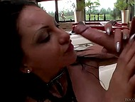 Even being blindfolded fiery brunette is able to count how many cocks own her pussy and mouth 11