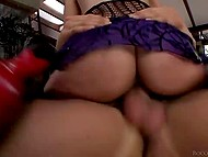 Even being blindfolded fiery brunette is able to count how many cocks own her pussy and mouth 8