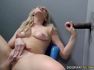 Blonde Dahlia Sky tells about first gloryhole experience in backstage scene after pleasuring black cock