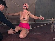 Tied blonde MILF with big boobs can just scream loud while pervert plays with her pussy and nipples 4