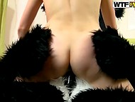 Young lass was very horny and wished panda to push pecker in her hungry pussy 5
