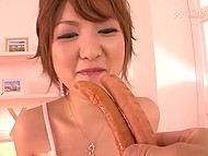Red-haired Japanese girl awoke dude and he fed her with sausages prior to fucking hairy pussy 4