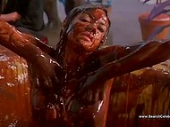 Canadian actress Carole Laure is suckled, fondles dick, and takes chocolate bath in 'Sweet Movie' movie 10