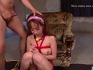Vibrostimulation doesn't prevent tied up teenage from sucking cocks and swallowing jizz 6
