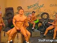 Muscled motorcycle riders gathered in the garage to give a head and go anal 8