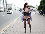 Mischievous Jeny Smith flashes trimmed pussy and tits by the window and in the street