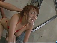Three guys with vibrators facialized oiled Japanese but failed to make her squirt 11