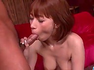 At the close of impassioned threesome, oiled Asian's snatch was filled with jizz 4