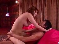 At the close of impassioned threesome, oiled Asian's snatch was filled with jizz 8