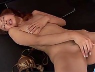 After taking off golden swimsuit, Asian inserted compact vibrator in hairy pussy 8