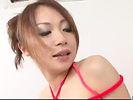 Man tied and lubricated Asian's body with oil not to fuck but to work out her fluffy 4