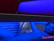 Brunette was impatient to masturbate in solarium and found hidden camera installed there 5