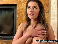 Latvian Savannah Secret took off silver lingerie and crawled up to cameraman to bestow him with awesome blowjob 4