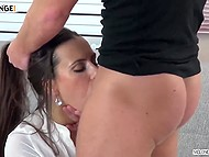 Well-groomed dame asked vicious guy some intimate questions before he brought cock into play 10