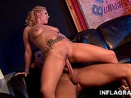 Satisfied fucker pours juicy buttocks of blonde partner with champagne while she is riding cock 7