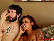 Ebony girl is been fucked very hard and brutally by a bearded dude so she screams like a whore 9