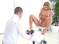Attractive blonde girl undresses on camera and starts riding cock like a pro 5