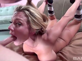 Spicy beau is shoving his cock into his woman's throat as deep as she almost cries