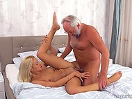 Vicious grandpa presented flower to his new flame with hint at sex so tootsie gave pussy to him 6