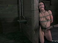 Teenage beauty with petite body was bondaged and slapped by experienced debauchee in basement 6
