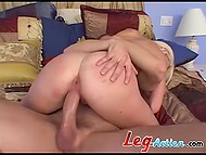 After top-class blowjob and rough anal sex, fucker erupted semen right in the shaved twat 5