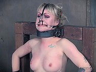 Man tied up light-haired bitch with tattoos and brought her thrills and nice sensations 4