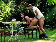 Tea becomes cold, whilst looker is making love to bearded inamorato in the backyard 9