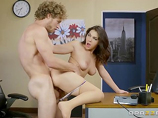Although scorching secretary had a lot of work, she still found time to be intimate with curly co-worker