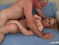 Busty MILF is embarrassed a bit before sex with old man but she promised so here it started 10