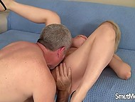 Busty MILF is embarrassed a bit before sex with old man but she promised so here it started 4
