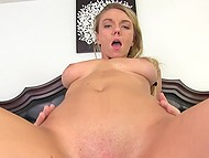 Blonde pig-tailed cutie wants to have fun in bar but action turns into wild sex act with cumshot on her face 8