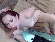 Red-haired blowjob master had no idea how deep cock could enter her throat 4
