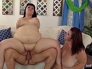 Black-haired BBWs were doing oral sex when horny comrade appeared to fuck them in threesome 9