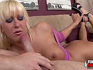 White-haired MILF Felicia Fallon takes boner deep in mouth not caring about makeup 7