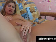 Concupiscent colleen with tanned body slowly masturbates shaved cunny alone 4