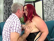 Chaser with gray hair loves fat dames and red-haired BBW couldn't resist spreading her legs 3