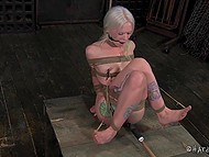 Pervert tied up blonde-haired prisoner so that every her movement excited her erogenous zones 3